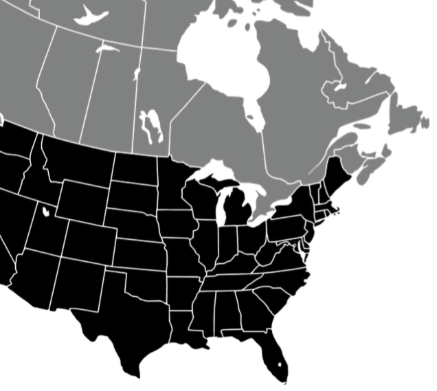 Outline map of the US and Canada